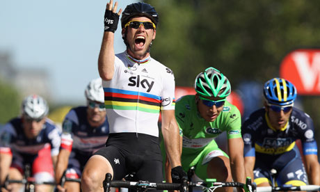 Mark Cavendish celebrates as he crosses the finish line to win final stage of 2012 Tour de France